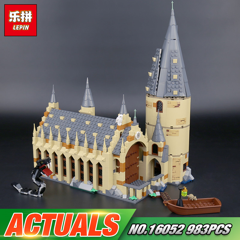 Lepin 16052 Harry Movie Potter The 75954 Hogwarts Great Wall Set Building Blocks Harry New Potter Toys Kids Toys Christmas Gifts personalized harry potter hogwarts school badge wax seal stamp w wax set new