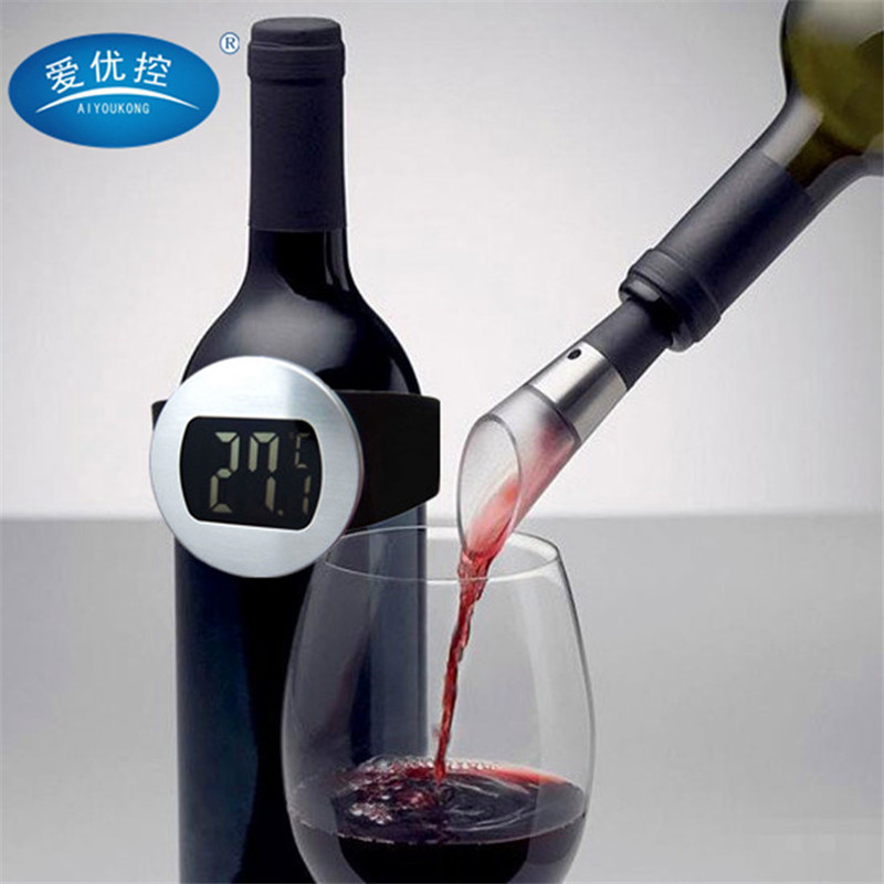 Permalink to Digital watch thermometer red wine grape wine wine bottle electronic digital thermometer with watch style YK-111