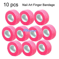 Free Shipping 10 PCS ROLL TAPE FLEX WRAP FINGER BANDAGE NAIL ART SALON CARE TOOLS SET