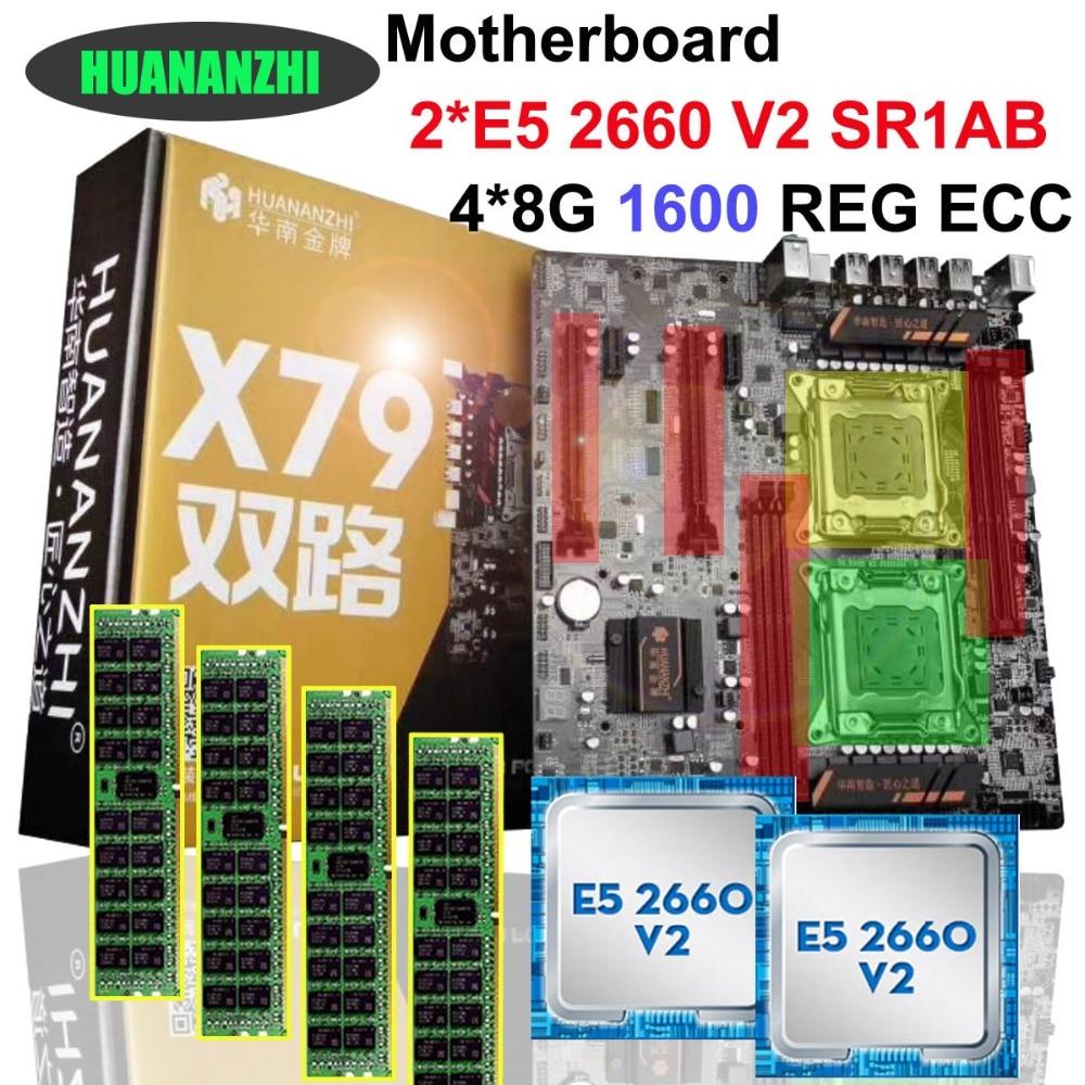 Marque HUANAN ZHI double CPU discount X79 carte mère CPU RAM combos CPU Intel Xeon E5 2660 V2 SR1AB 2.2 GHz RAM 32G (4*8G) REG ECC