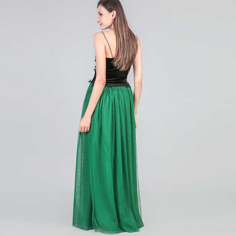 Женская мода макси длинная юбка Тюль Юбка подружки невесты бальные юбки женские для свадебной вечеринки плиссированная юбка
