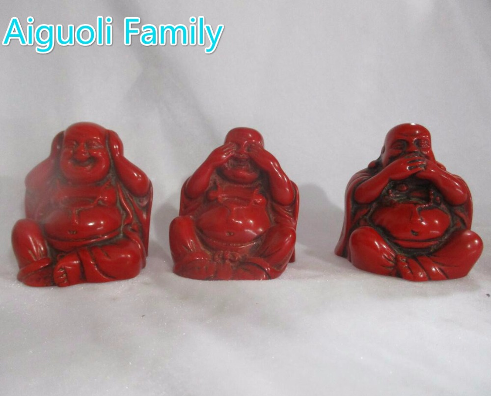 Art Collectible Decoration Chinese Handmade Imitation red coral 3 buddha statue/Religious sculpture