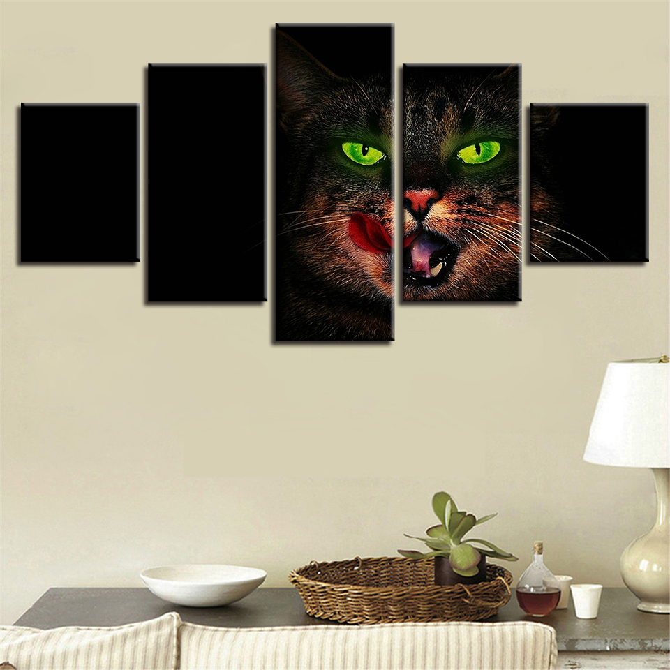 Poster Canvas Oil Painting HD Wall Art Fashion Vintage Home Decor Pictures 5 Panel Cat Modern Printing Type Modular Artwork