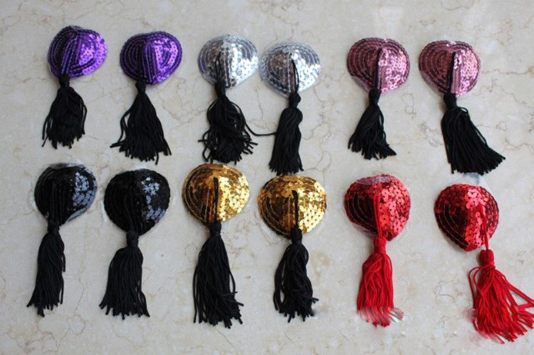 1 Pair Silicone Sexy Sequin Tassel Breast Sheath For Girls