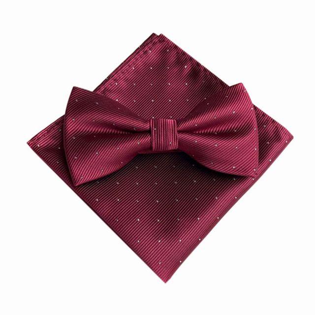Hot 7 Color Men's Fashion Bow Ties Set Groom Gentleman Dots Cravat and Pocket Towel Handkerchief Wedding Party Business Ties T6