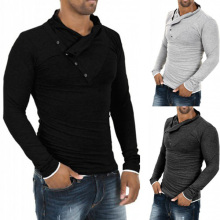 New Autumn Men 100% Cotton Oblique Button Collar T Shirt Fashion Men Long Sleeve Slim fit T-Shirt
