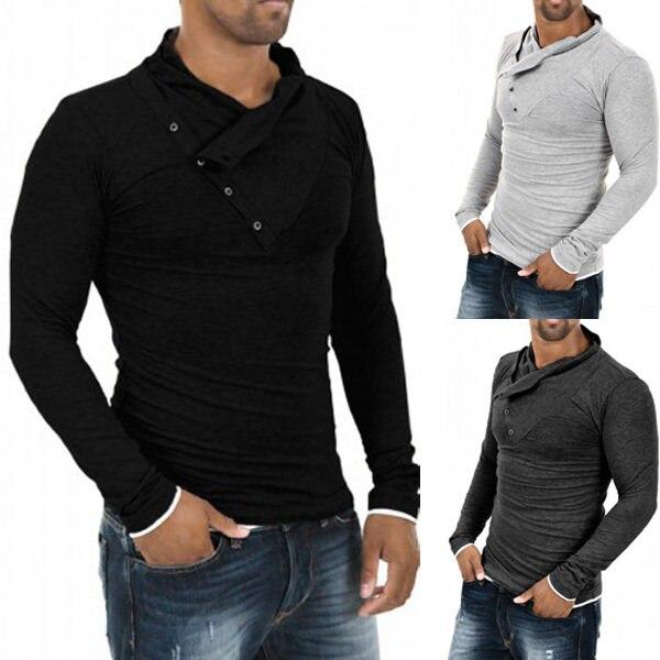 Online Shop 2017 New Autumn Mens 100% Cotton Oblique Button Collar ...