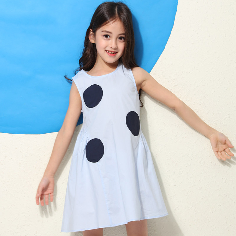 2018 Sweet Girls Big Polka Dot Dress for Princess Sleeveless Summer Clothing Teenage Kids Frocks 56789 10 11 12 13 14 Years Old sweet years sy 6282l 07