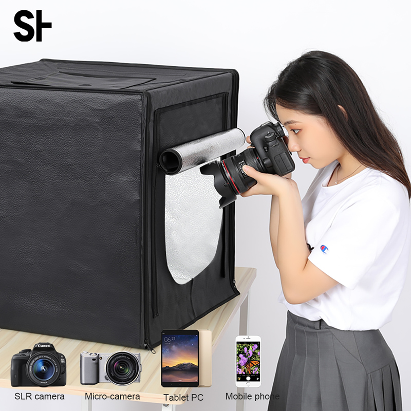 Mini Photo Studio Portable Folding Studio Lightbox 132 LED Tabletop Shooting Tent 40 cm Light Box Lighting Photography Kit-in Photo Studio Accessories from Consumer Electronics    1