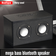 wood and leather Bluetooth stereo hyper bass high fidelity HiFi effect full frequency double speaker desktop wireless music play