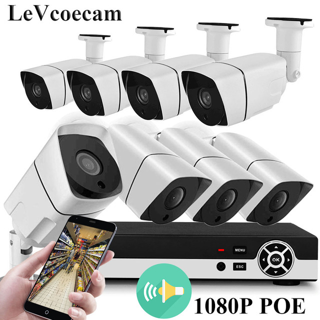 Full HD 1080P PoE Video Security Cameras System,8CH 1080P Surveillance NVR, 2.0 MP Outdoor Indoor Audio Weatherproof IP Camera