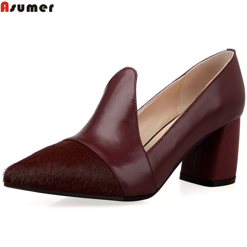 ASUMER black wine red fashion spring autumn new 2018 ladies single shoes pointed toe women genuine leather high heels shoes new spring autumn women shoes pointed toe high quality brand fashion ol dress womens flats ladies shoes black blue pink gray