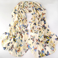 Estilo de moda de nova borboleta Cachecóis scarf shawl longo primavera das mulheres pashmina de seda chiffon cachecol infinito