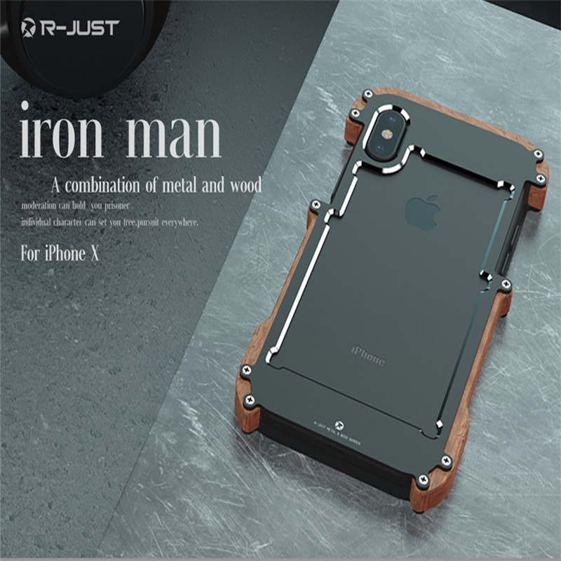 R-Just  NEW Phone Case For iPhone X Natural Wood Case For iPhone X Aluminum Metal Case Frame Original Phone Cases Accessories