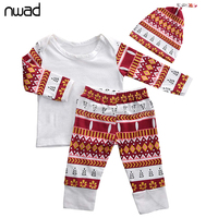 New Designer Baby Long Sleeve Clothes Set Cute Baby Outfit Clothing Suit T Shirt Pants Beanies