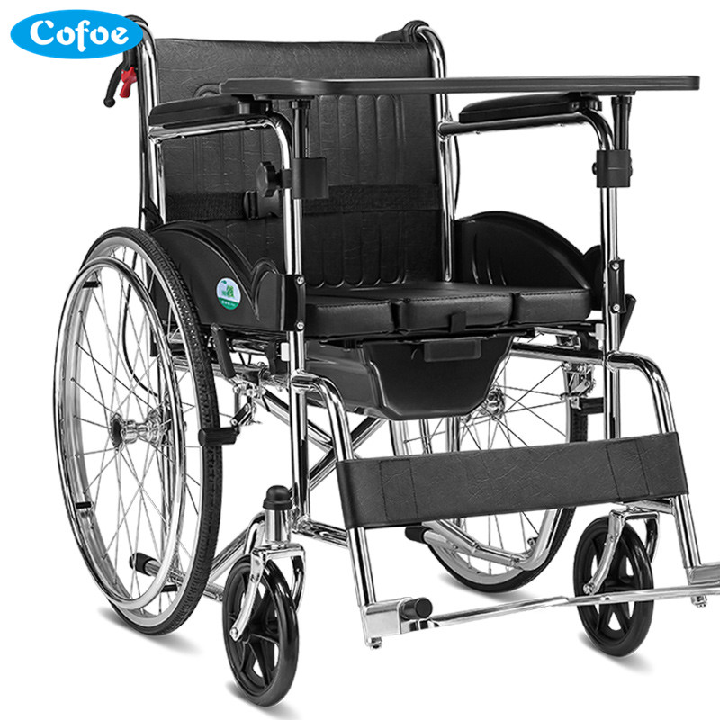 Cofoe Yiwen Wheelchair Portable Folding Trolley Travel Scooter with Pedestal Pan for Old People the Disabled 2017 Newest portable cofoe yishu wheelchair full back rest folding galvanized steel scooter with pedestal pan for the aged 2018 newest
