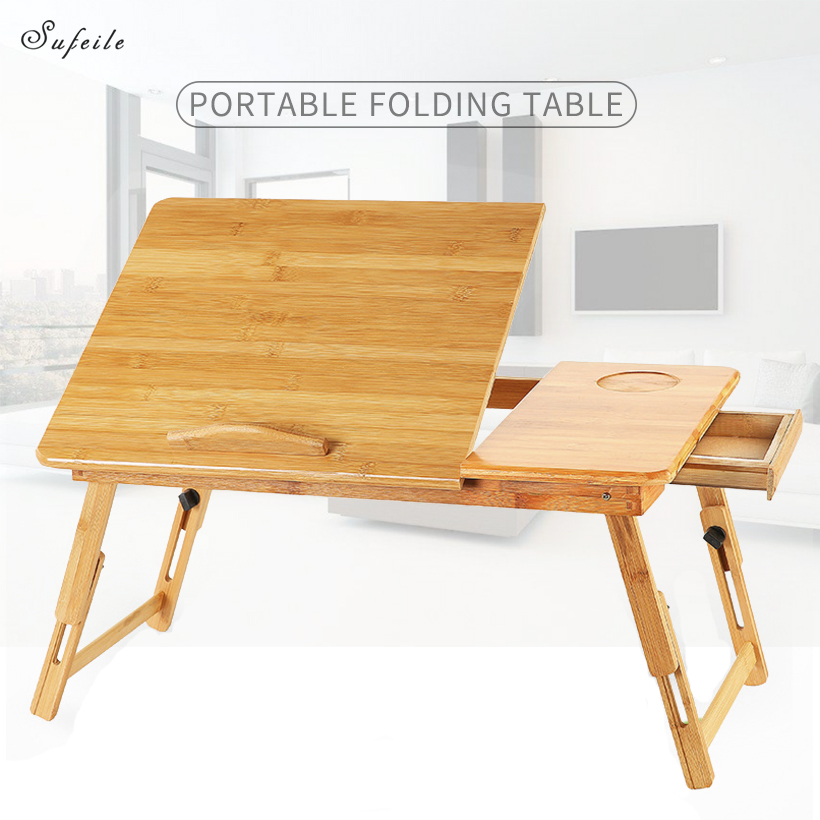SUFEILE Portable Laptop Table Folding Bamboo  Laptop Stand Computer Table Bed Notebook Table Laptop 15 Inch Stand