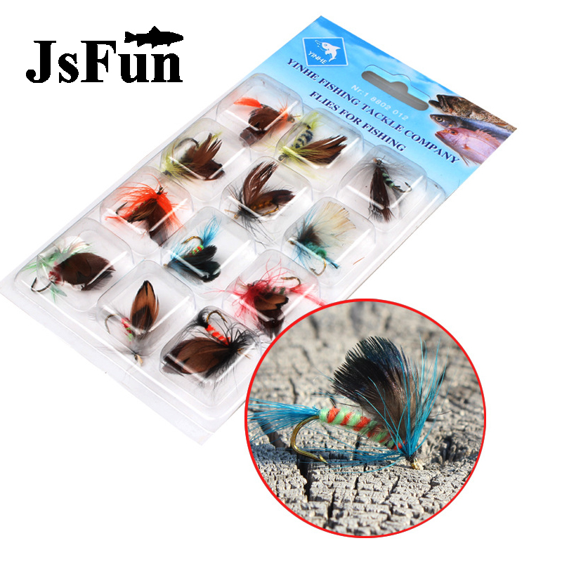 Jsfun 12pcs/pack Fly Fishing Flies Set Wet Dry Nymph Fly Lure Kit hand tied Flies for Trout Pike Fishing Tackle Accessory FU99 5sheets pack 10cm x 5cm holographic adhesive film fly tying laser rainbow materials sticker film flash tape for fly lure fishing