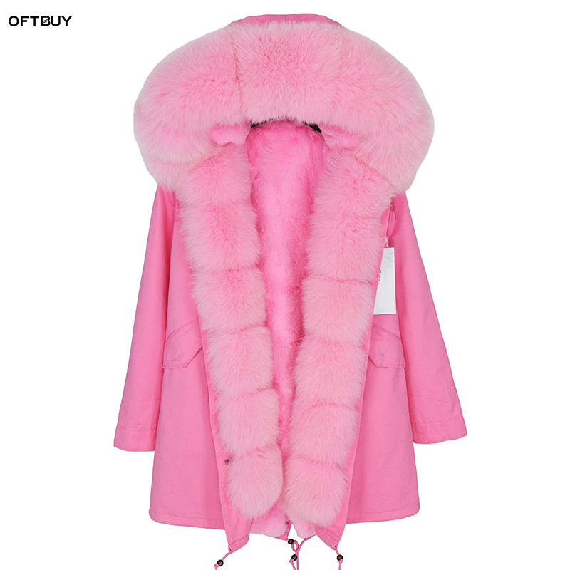 OFTBUY 2019 Winter Jacket Women Real Fur Coat Parka Natural Fox Fur Collar Faux Fur Liner Long Coat Streetwear Fashion Warm