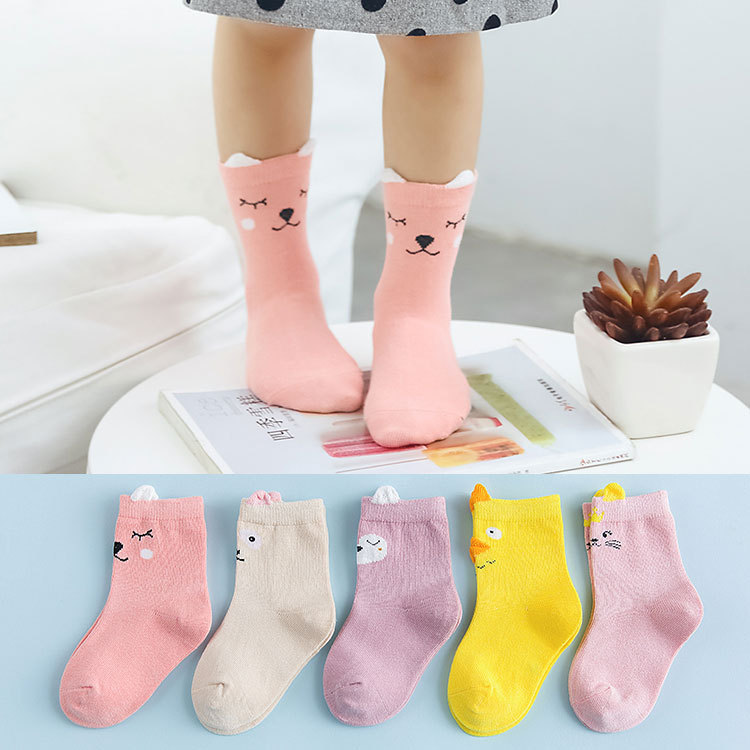 2018 Winter Cute Children Socks for Girls Boys Ankle Length Cotton Kids Girl Socks 5 Pair Baby Stuff for 1-5 Years 6 Colors