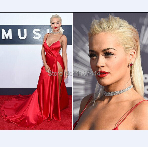 Rita Ora v neck sexy hot red prom dress on 2014 MTV Video Music Awards  Evening dresses Red Carpet celebrity gowns-in Celebrity-Inspired Dresses  from ... e1493a2b9