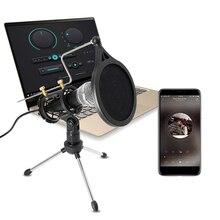 Lefon mikrofon kayıt kondenser bilgisayar için Android telefon PC için mikrofon standı Podcast Karaoke 3.5mm Jack