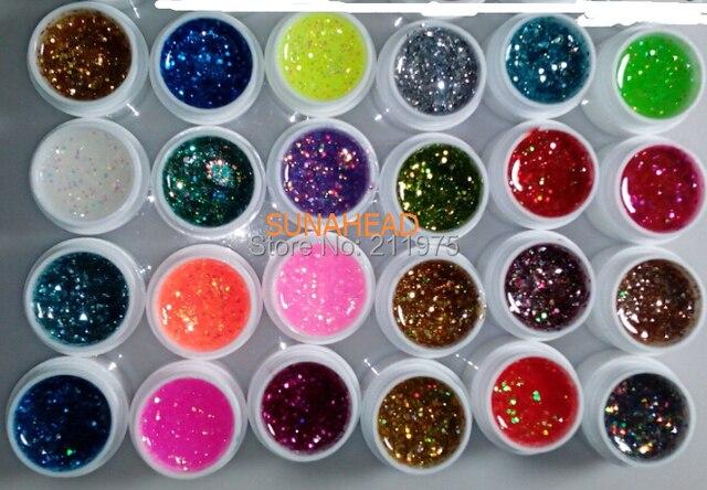 New 24pcs Mix Color Nail Gel Shimmering Powder Nail Art Builder Glitter UV Gel