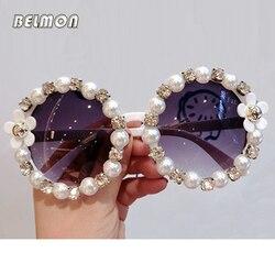 Belmon Baroque Sunglasses Women Brand Round Rhinestone Flower Sun Glasses For Ladies UV400 Oculos de Sol Female Sunglass RS661