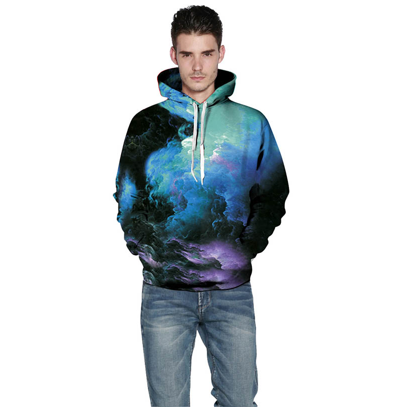 New Design Fashion Autumn Sweatshirt Men/Women Sky Print Unisex Hoody Pullovers Cool Thin Hooded Hoody Tops Sweatshirts Outwear