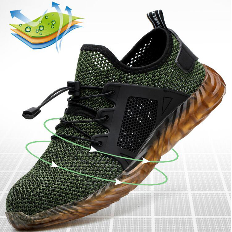 New Breathable Mesh Safety Shoes Men Light Sneaker Indestructible Steel Toe Soft Anti-piercing Work Boots Plus Size 36-48