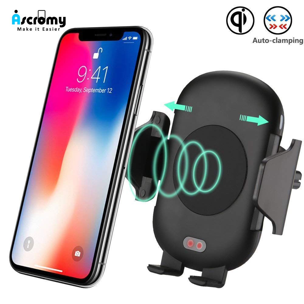 8257af01fc6bd Ascromy Infrared Sensor Wireless Charger Car Mount Holder Stand Fast  Charging For iPhone XS Max XR
