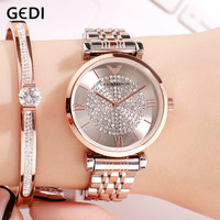 GEDI Fashion Quartz Watches for Women Top Clock Women's Watch Luxury Ladies Wristwatch Rosegold Simple Alloy Strap reloj mujer
