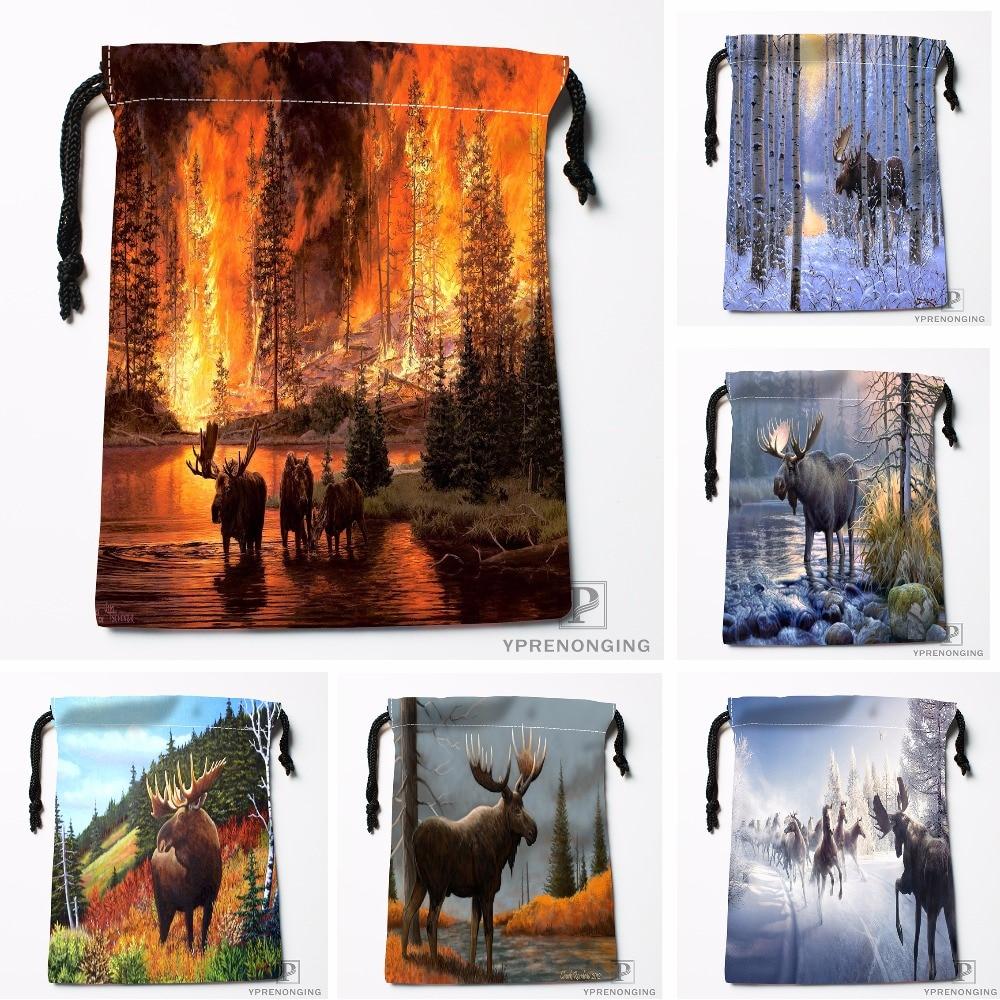 Custom Moose Oil Painting Drawstring Bags Printing Travel Storage Mini Pouch Swim Hiking Toy Bag Size 18x22cm#180412-11-86