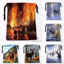Custom Moose Oil Painting Drawstring Bags Printing Travel Storage Mini Pouch Swim Hiking Toy Bag Size