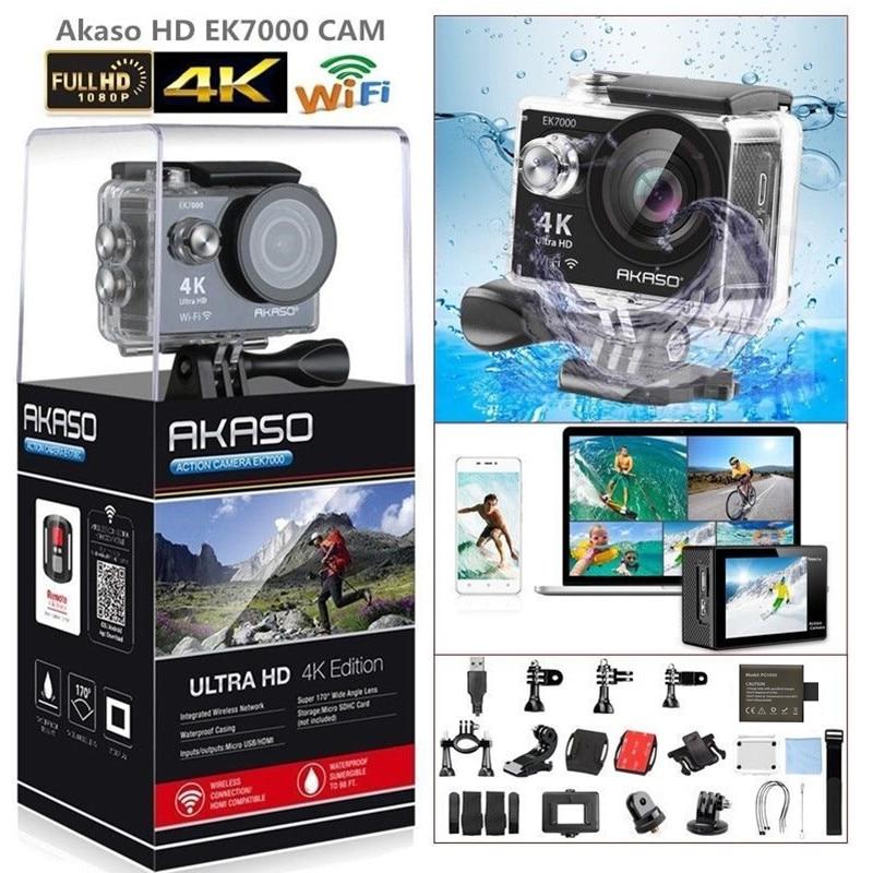 2017 Version AKASO EK7000 4K Action Camera WIFI Ultra HD Waterproof Sports DV Camcorder 12MP 170 Degree Wide Angle wholesale fpv camera mini 4k 170 degree wifi dv action sports camera video camcorder