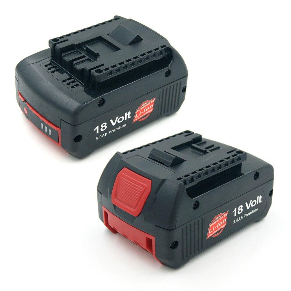2 pack de 5000 mah 18 v Au Lithium Rechargeable Batterie pour Bosch Perceuse BAT609 BAT618 3601H61S10 JSH180 Bosch 18 V-LI outils électriques