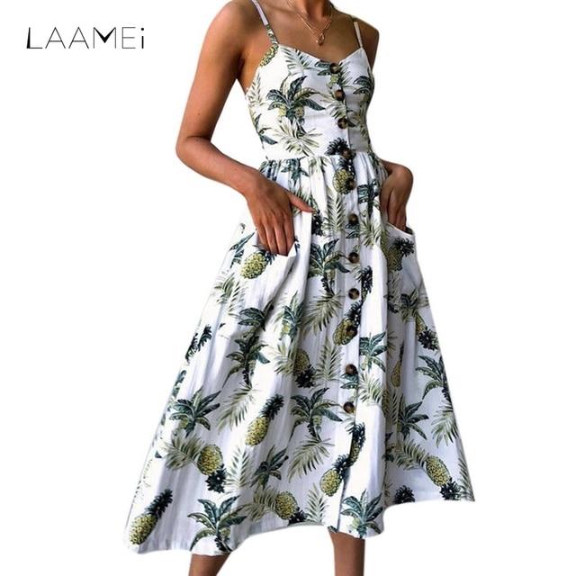 LAAMEI Summer Women Dresses 2018 Vintage Sexy Bohemian Floral Tunic Beach Dress Sundress Pocket Maxi Long Dress Striped Vestidos