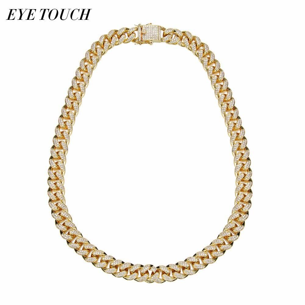 EYE TOUCH Hiphop Design jewelry 24 Inch Gold Color Austrian Rhinestone Men Necklace Pendant Luxury Fashion Retro Cuba Chain Gift