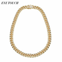 EYE TOUCH Hiphop Design jewelry 24 Inch Gold Color Austrian Rhinestone Men Necklace Pendant Luxury Fashion Retro Cuba Chain Gift
