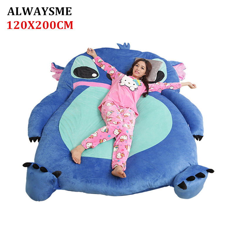 ALWAYSME 120x200CM Planetdog Stich One Piece Design Lazy Sofa Bed Cover Tatami Mat Without Filler Cotton Inside