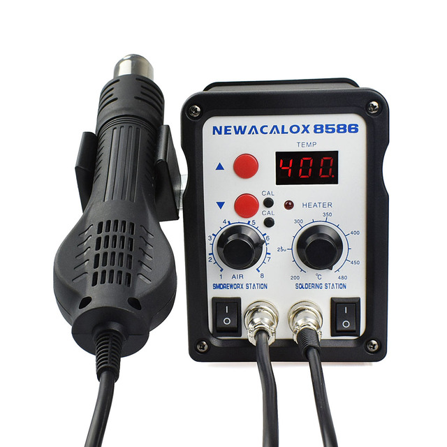 NEWACALOX EU Plug 220V 700W  Rework Soldering Station Thermoregulator  Soldering Iron Hot Air Desoldering Gun Welding Tool Kit 4