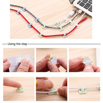 Car Wire Clip USB Cable 18Pcs Sticker Fixed Clamp Clips Fastener Charger Clasp Retaining In Auto Accessories Holder Car-styling image