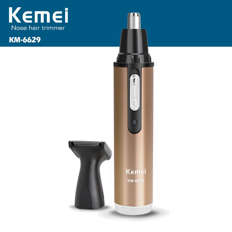 <font><b>Kemei</b></font> <font><b>Rechargeable</b></font> <font><b>2</b></font> <font><b>In</b></font> <font><b>1</b></font> <font><b>Electric</b></font> <font><b>Nose</b></font> And Ear Hair Trimmer KM-6629 Professional <font><b>Nose</b></font> And Ear Hair Cutting Machine