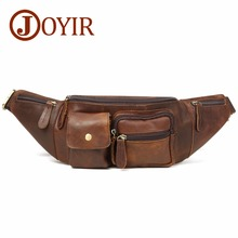 JOYIR Genuine Leather Waist Packs Fanny Pack Belt Bag Vintage Phone Pouch Bags Travel Male Small