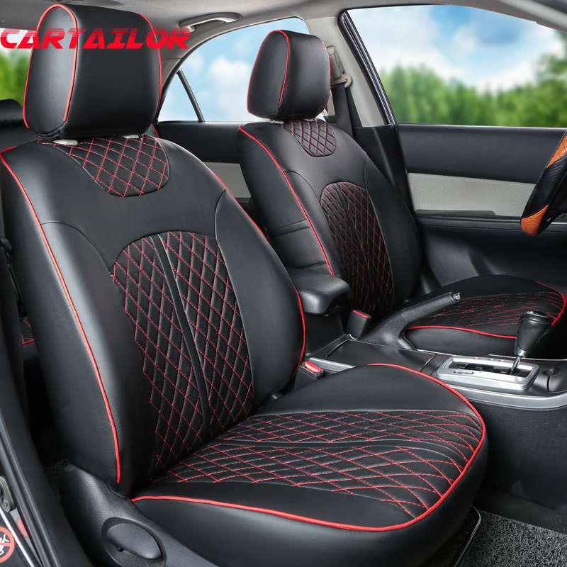 CARTAILOR Car Seat Protector For Nissan Patrol Y61 Y62 Covers Black Cover Seats PU Leather Accessories Set