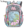 2016 Fashion Flower Printed Nylon Lightweight Infantile Backpack Satchel for Backbone Protection Kids Girl School Bag