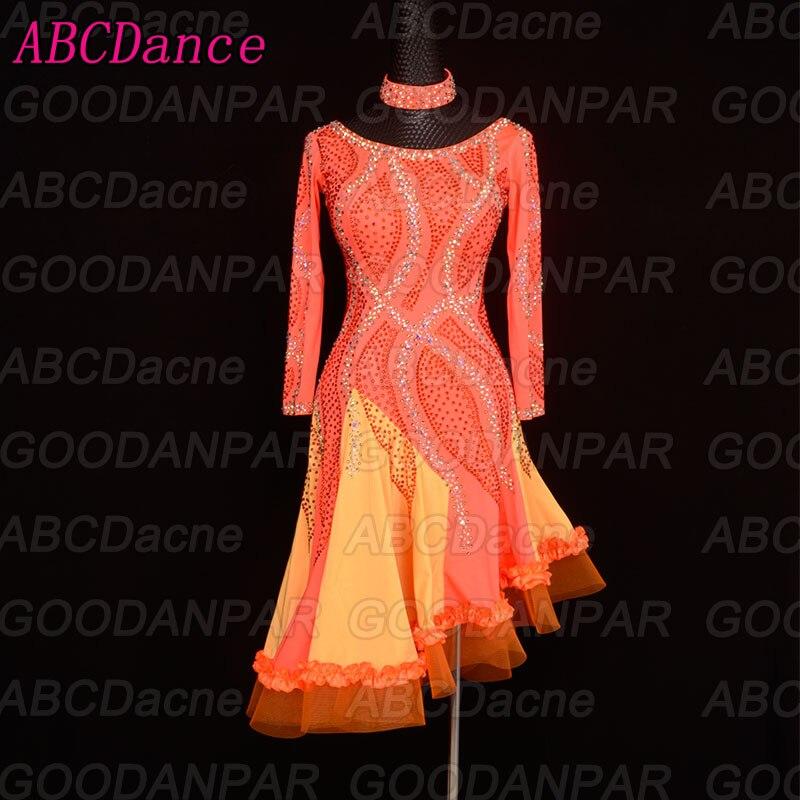 Vestito da ballo latino manica Lunga Irregolare gonna concorso vestito latino ChaCha Rumba Samba Tango dancewear ballroom dancing wear