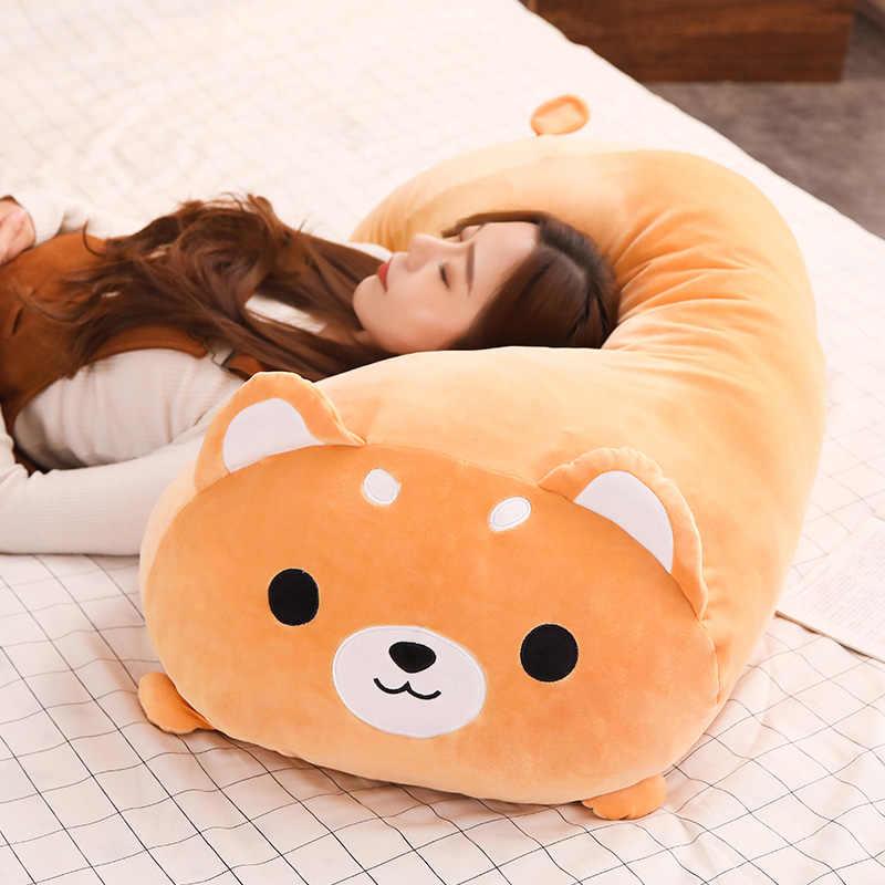 long animals plush toy stuffed squishy animal bolster pillow dog cat shiba inu penguin cylindrical plushie toy sleeping friend