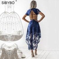 Sibybo Women Floral Vestidos Elegant Boho Vintage Backless Lace Dress 2017 Autumn V Neck Short Sleeve