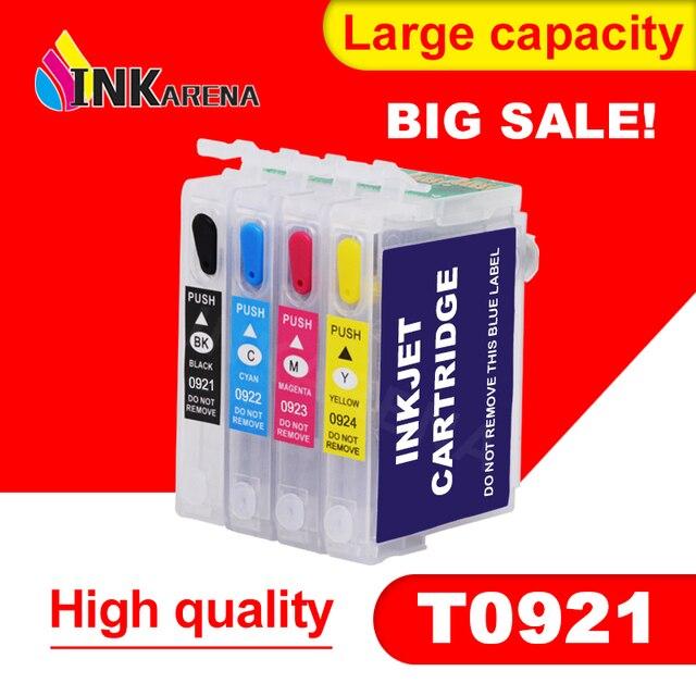 מחסנית דיו Refillable עבור EPSON T26 T27 TX106 TX109 TX117 TX119 C51 C91 CX4300 מדפסת T0921 921N 92n מילוי דיו עם שבב